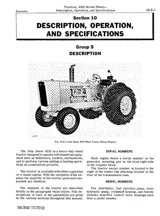SM2042 - John Deere 4010 Tractors Service Technical Manual - 1