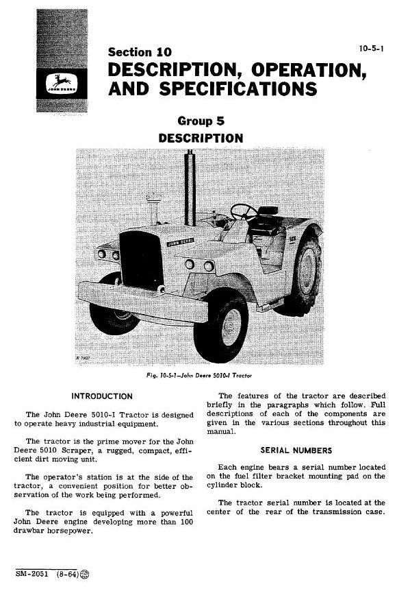 SM2051 - John Deere 5010, 5010i Tractors All Inclusive Technical Service Manual - 1