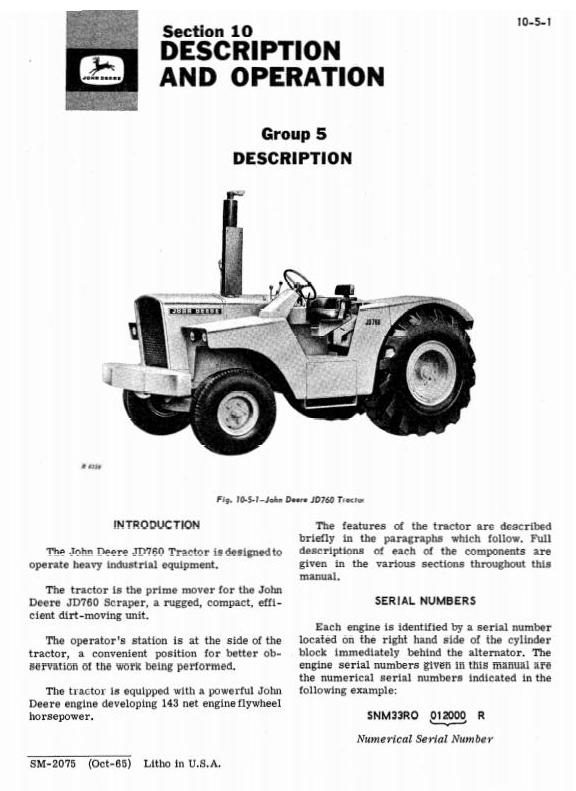 SM2075 - John Deere JD760 Tractor Technical Service Manual - 3