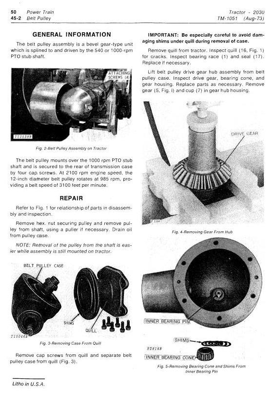 TM1051 - John Deere 2030 Utility Tractor Technical Service Manual - 2