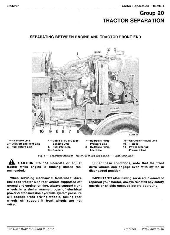 TM1221 - John Deere 2040, 2240 Tractors Technical Service Manual - 1