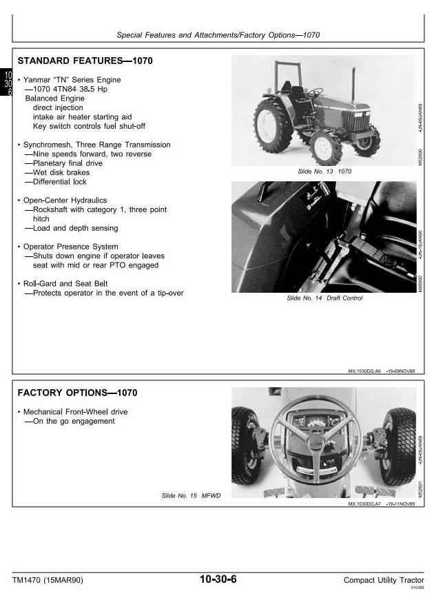 TM1470 - John Deere 670, 770, 790, 870, 970, 1070 Compact Utility Tractors Technical Service Manual - 1