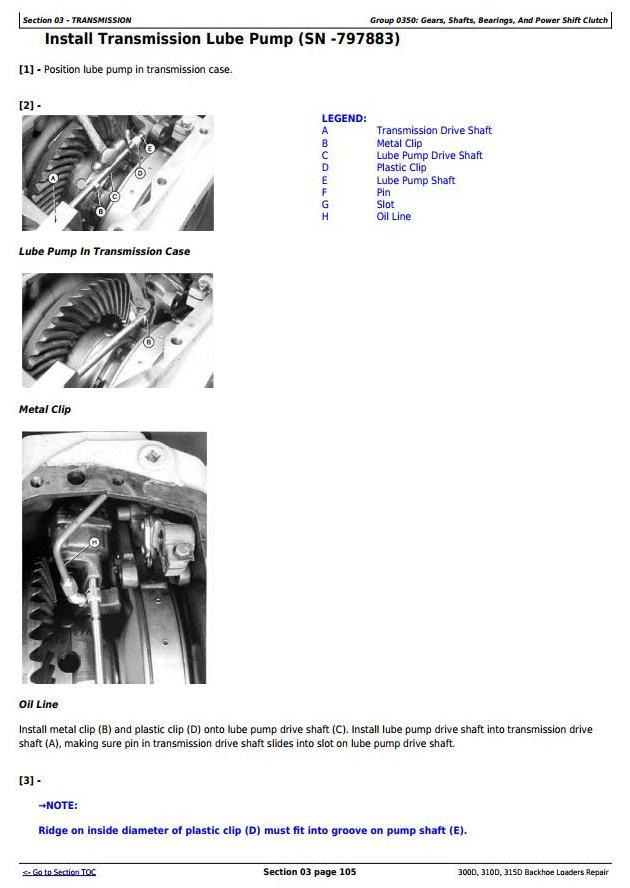 TM1497 - John Deere 300D, 310D Backhoe Loaders 315D Side Shift Loader Service Repair Technical Manual - 1