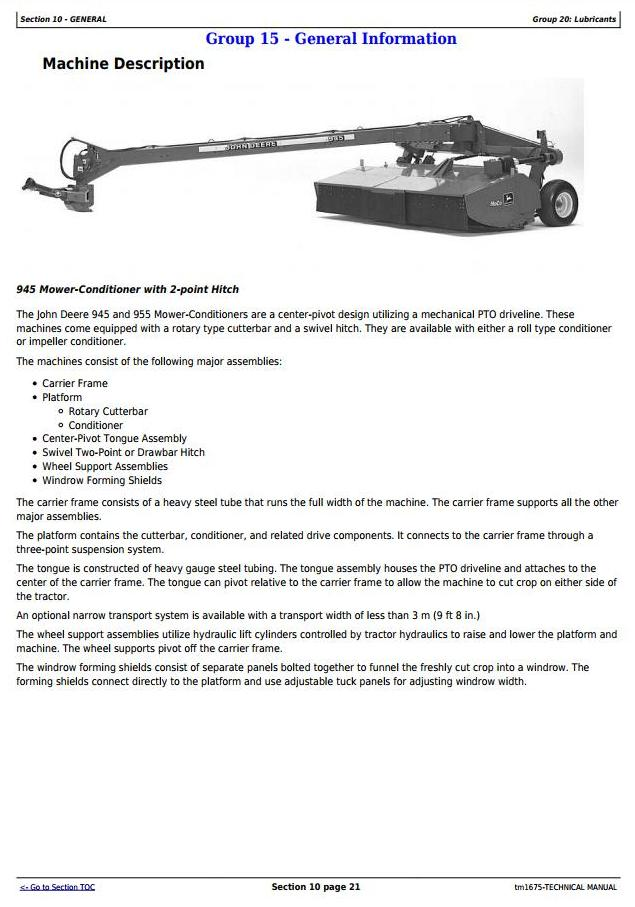 TM1675 - John Deere 945 and 955 Center Pivot Rotary Mower-Conditioner All Inclusive Technical Manual - 1