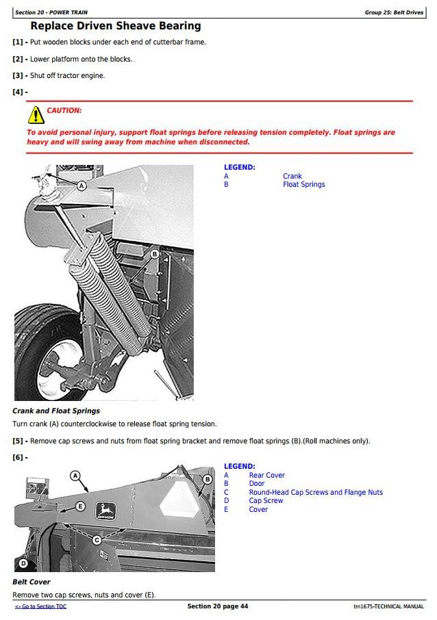 TM1675 - John Deere 945 and 955 Center Pivot Rotary Mower-Conditioner All Inclusive Technical Manual - 2