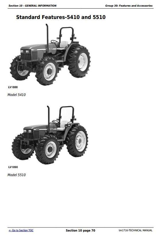 TM1716 - John Deere Tractors 5210, 5310, 5410, 5510 All Inclusive Diagnostic, Repair Technical Manual - 2