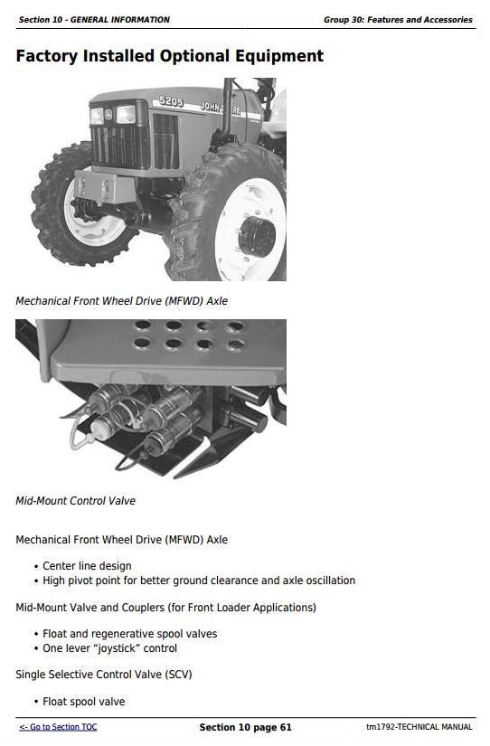 TM1792 - John Deere 5105 and 5205 USA Tractors Diagnostic and Repair Technical Manual - 2