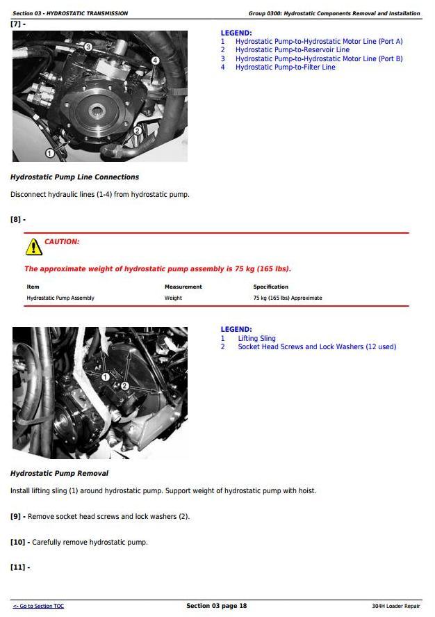TM1864 - John Deere 304H 4WD Loader Service Repair Technical Manual - 1