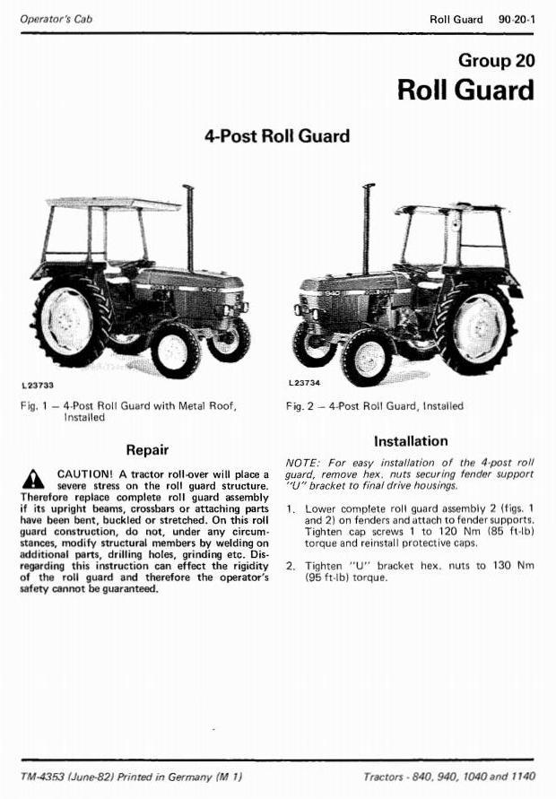 TM4353 - John Deere 840, 940, 1040 & 1140 Tractors Technical Service Manual - 3