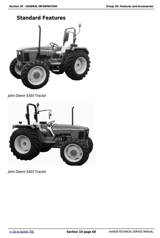 TM4830 - John Deere Tractors 5303 and 5403 (India) Service Repair Technical Manual - 2