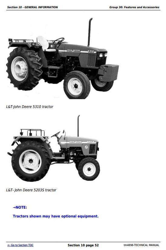 TM4898 - John Deere Tractors 5203S, 5310, 5310S (India) Diagnostic and Repair Technical Service Manual - 2