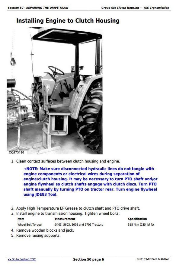TM8139 - John Deere John Deee Tractors 5403, 5600, 5603, 5605, 5700 and 5705 (South America) Repair Service Manual - 2