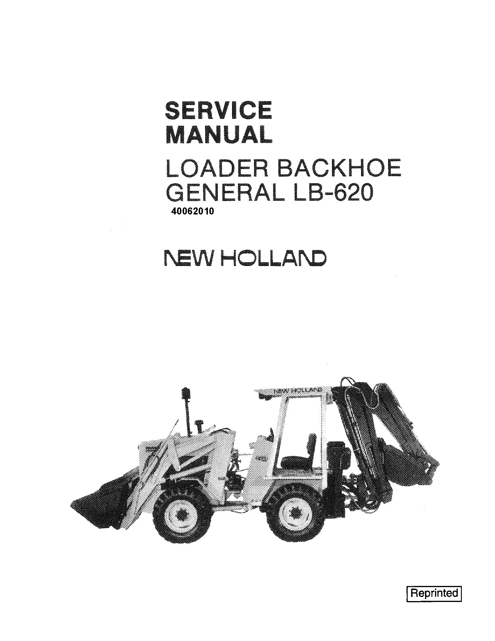 New Holland LB620 Backhoe Loader Service Manual - 19345