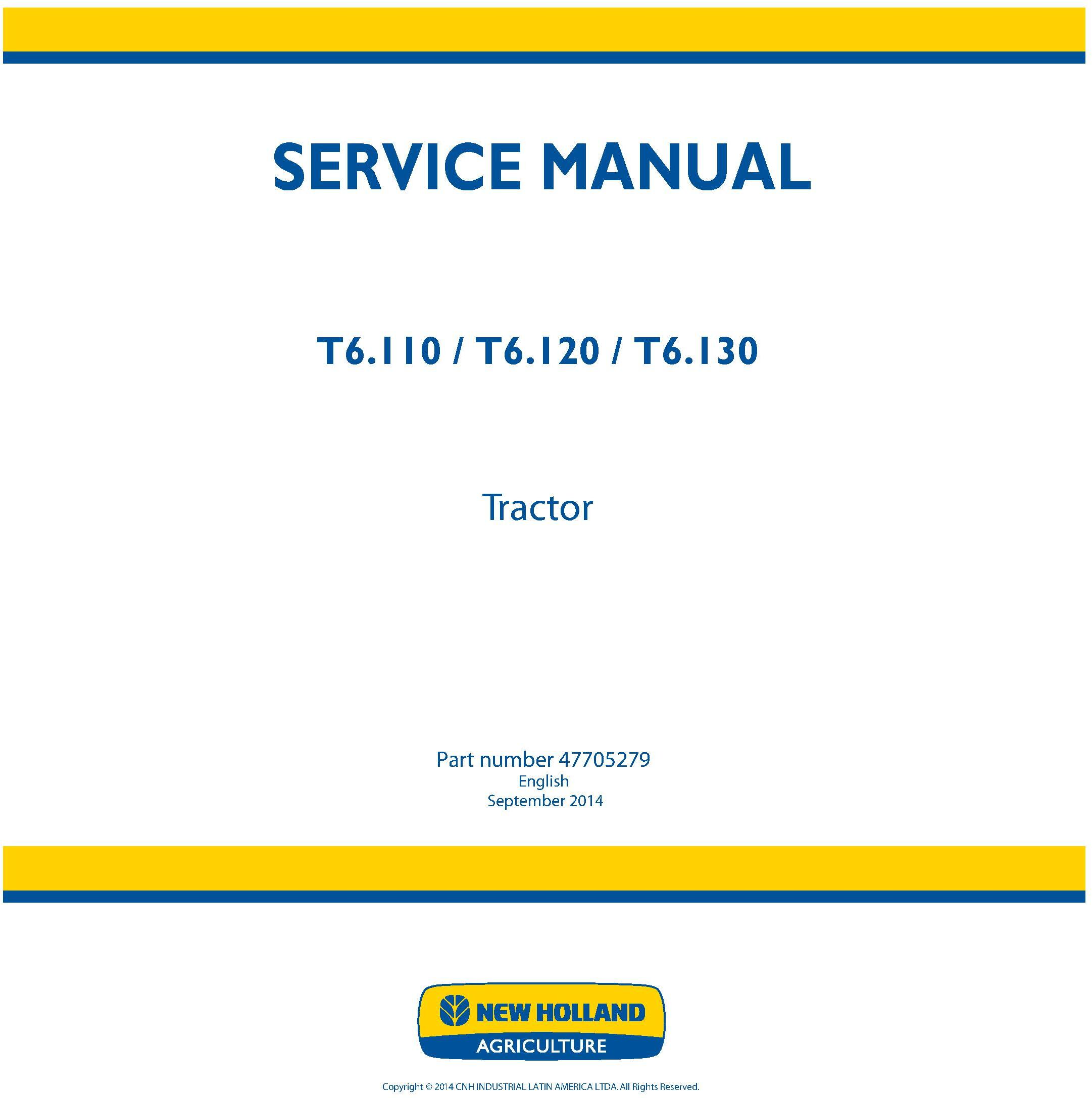 New Holland T6.110, T6.120, T6.130 Tractor Service Manual (Latin America) - 19404
