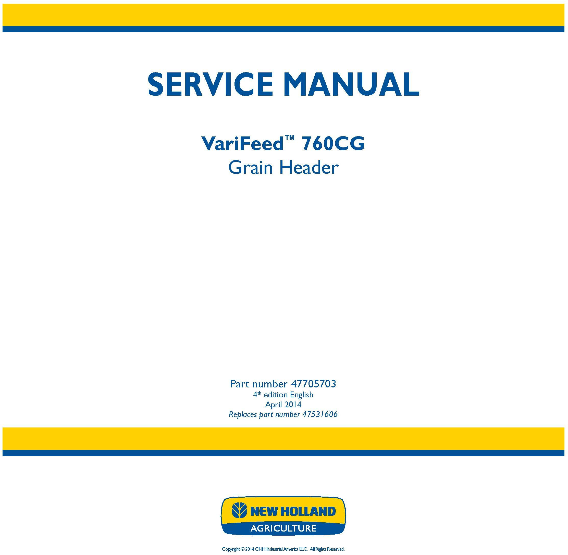 New Holland VariFeed 760CG Grain Header Service Manual - 20037
