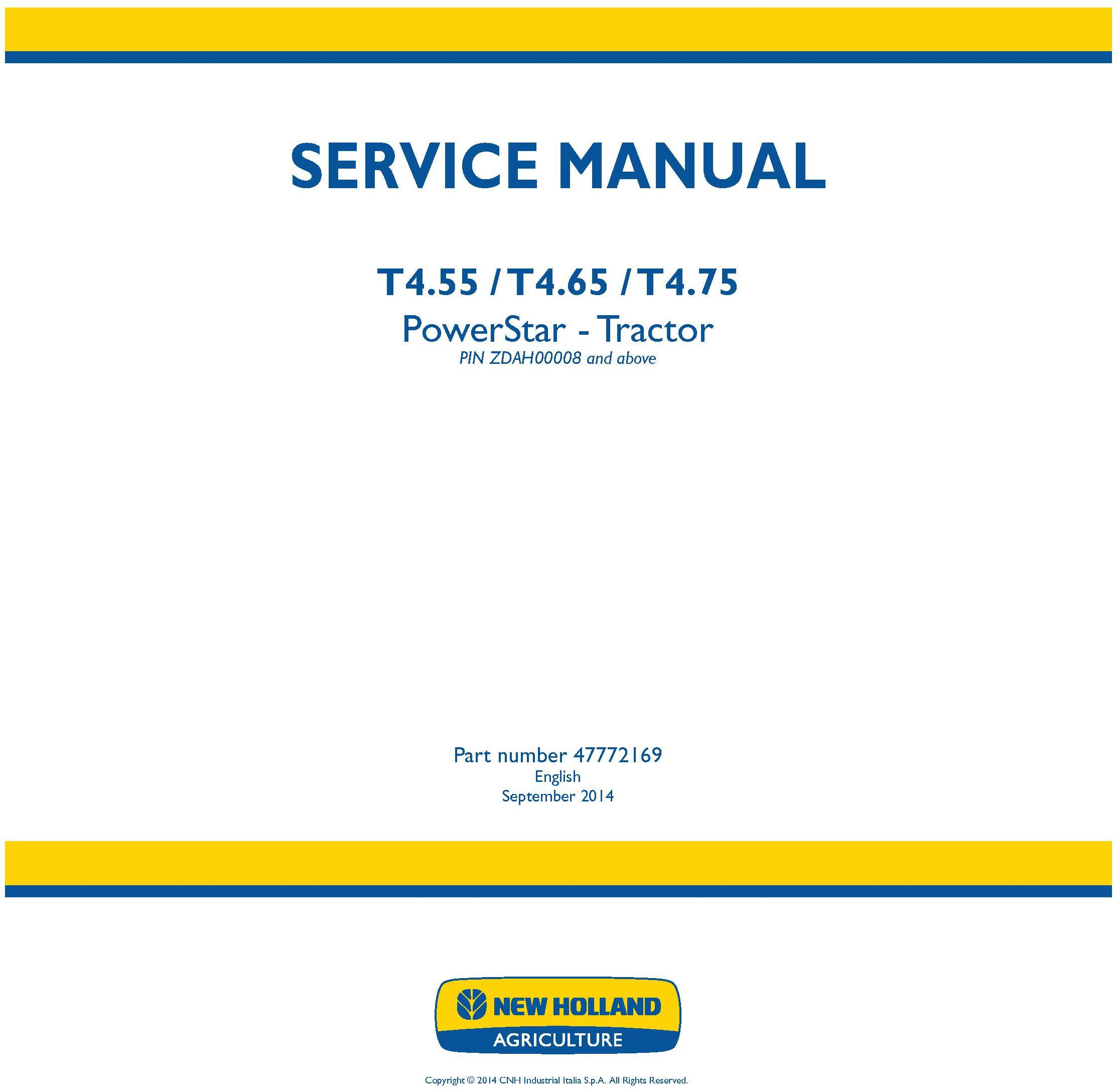 New Holland T4.55, T4.65, T4.75 PowerStar Tier4B Final Tractor Service Manual - 19411
