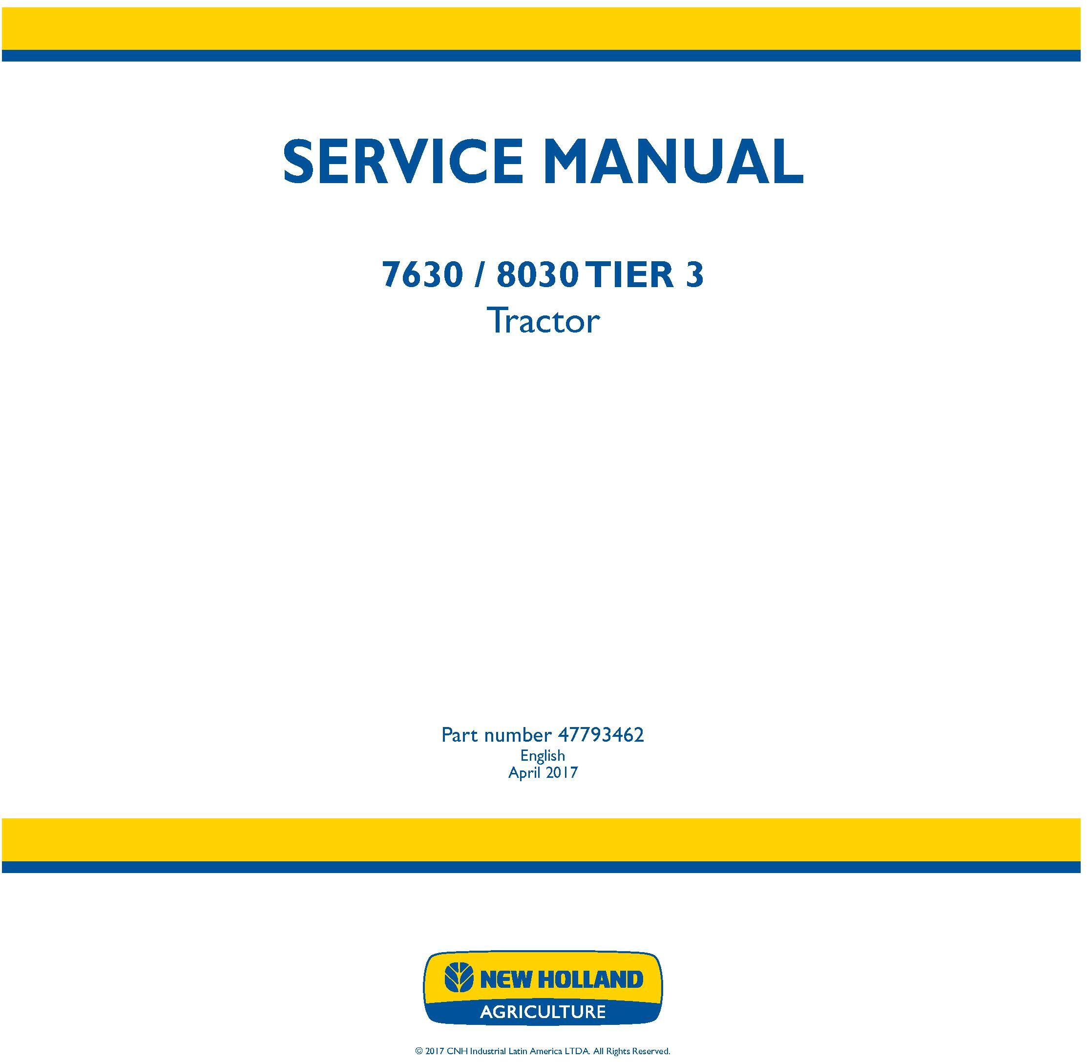 New Holland 7630, 8030 Tier 3 Tractors Service Manual - 19413