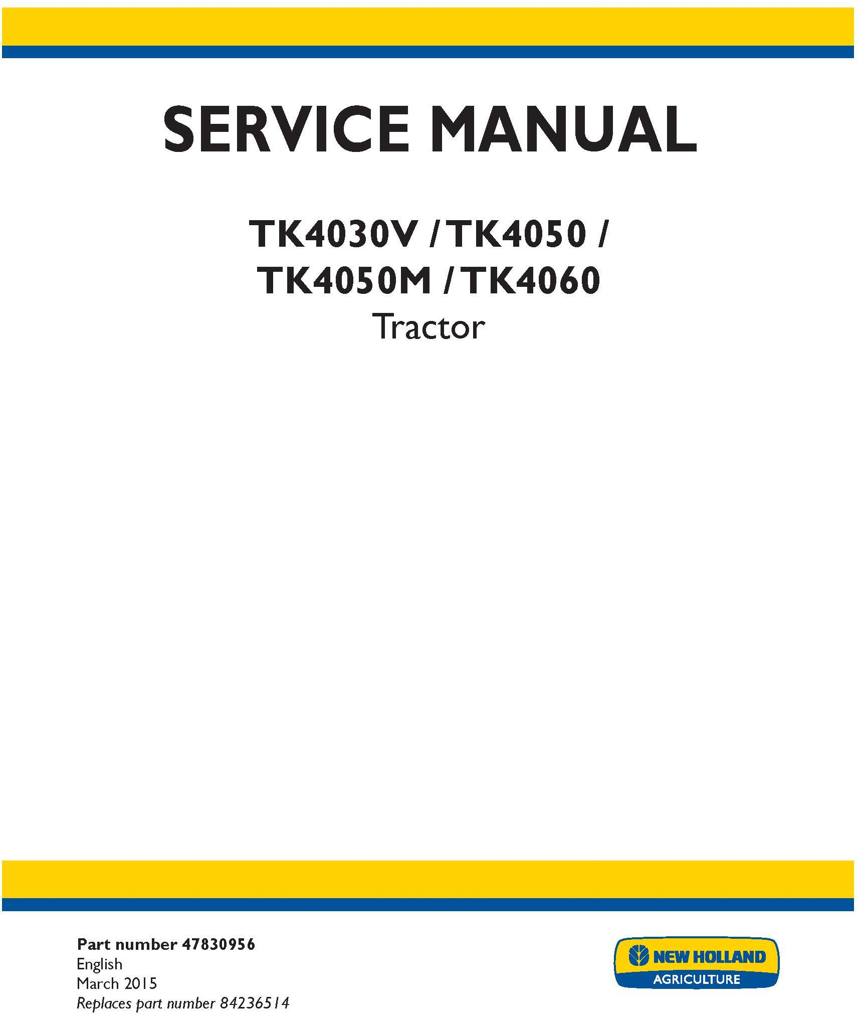 New Holland TK4030V, TK4050, TK4050M, TK4060 tractor Service Manual (North America) - 19420