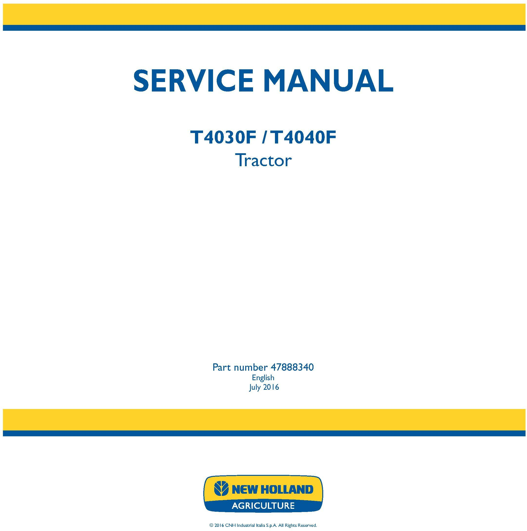 New Holland T4030F, T4040F Tractor Service Manual (Latin America) - 19433