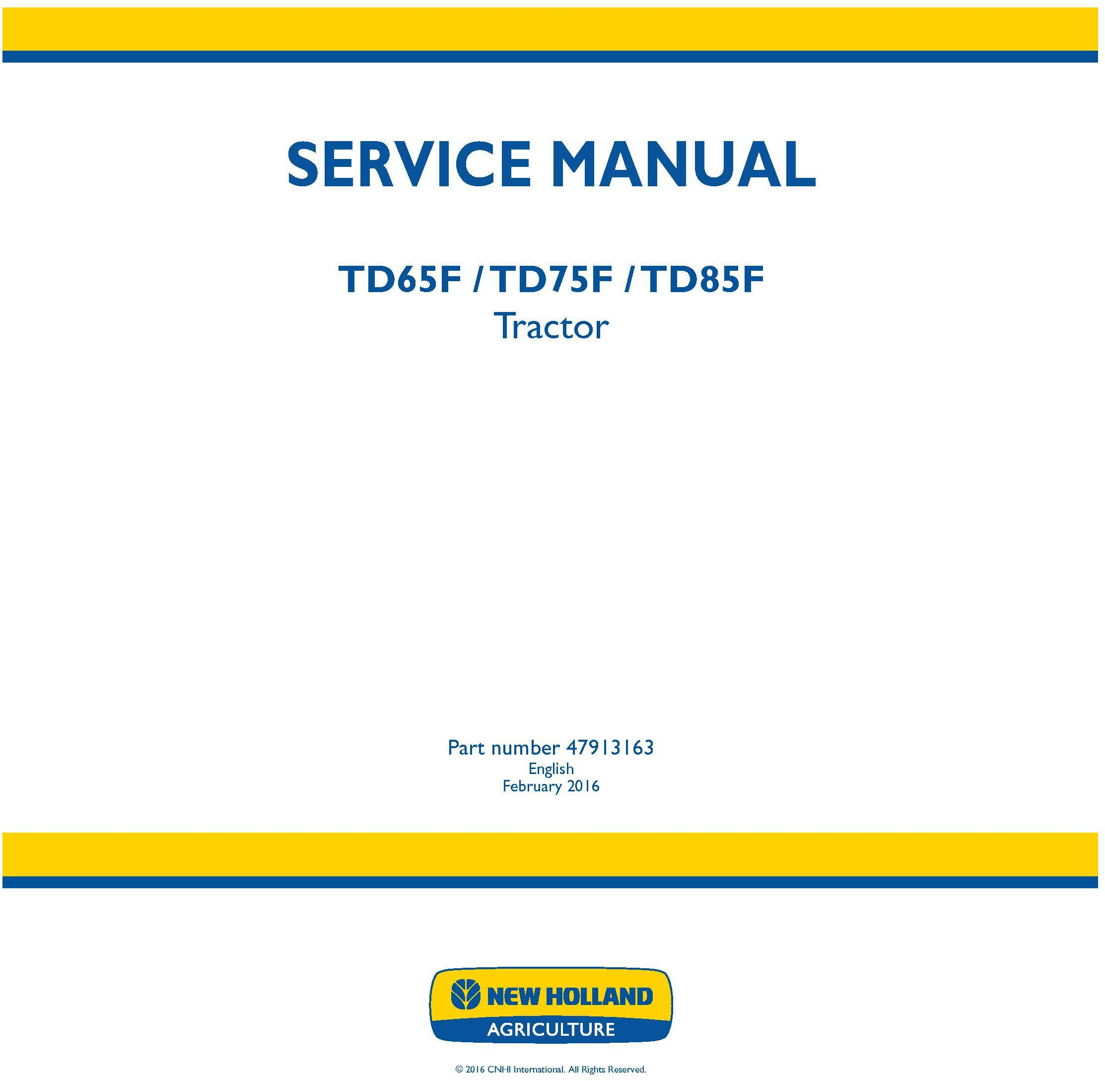 New Holland TD65F, TD75F, TD85F Tractor Service Manual - 19450