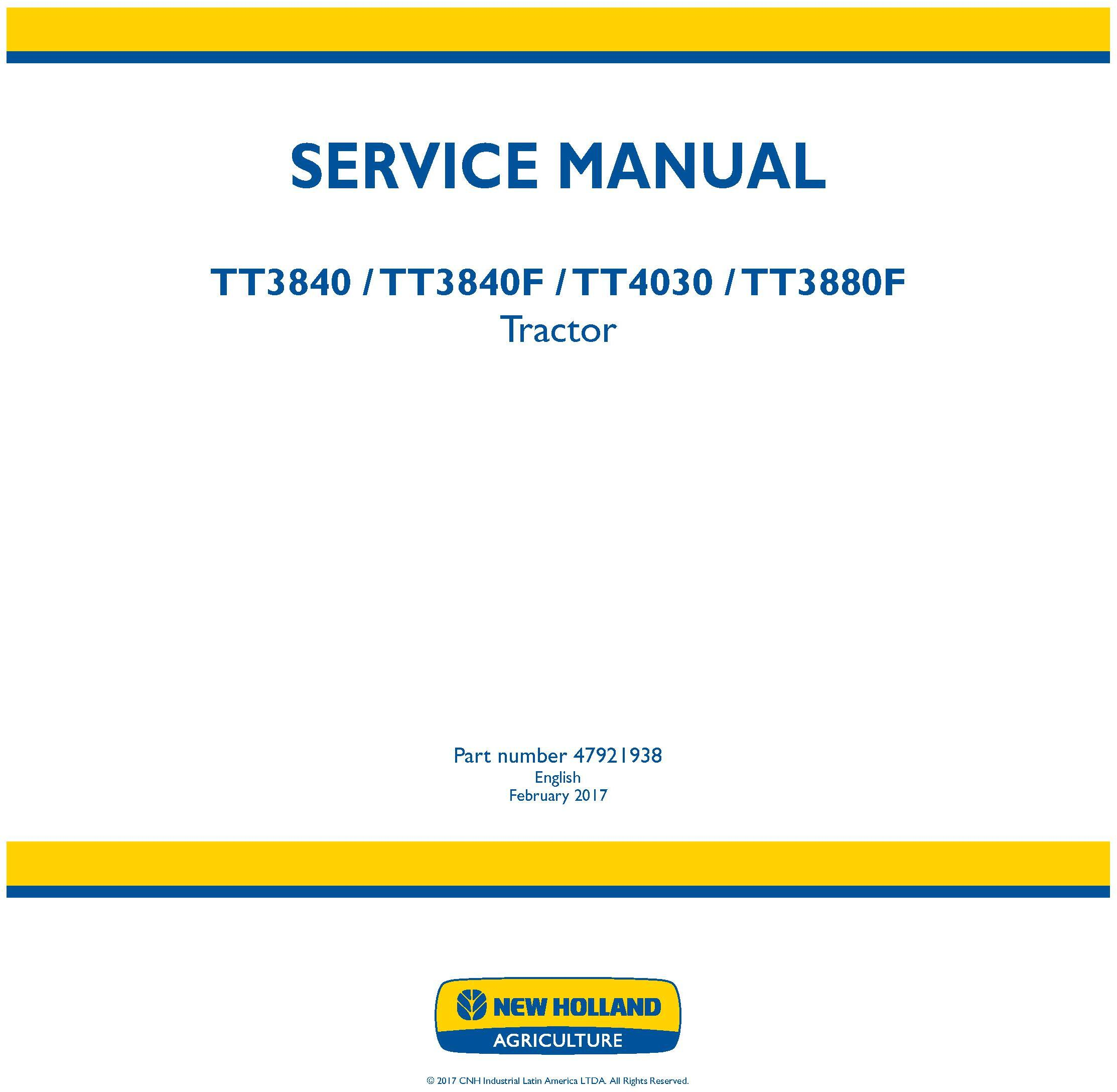 New Holland TT3840, TT3840F, TT4030, TT3880F Tractor Service Manual (Latin America) - 19459
