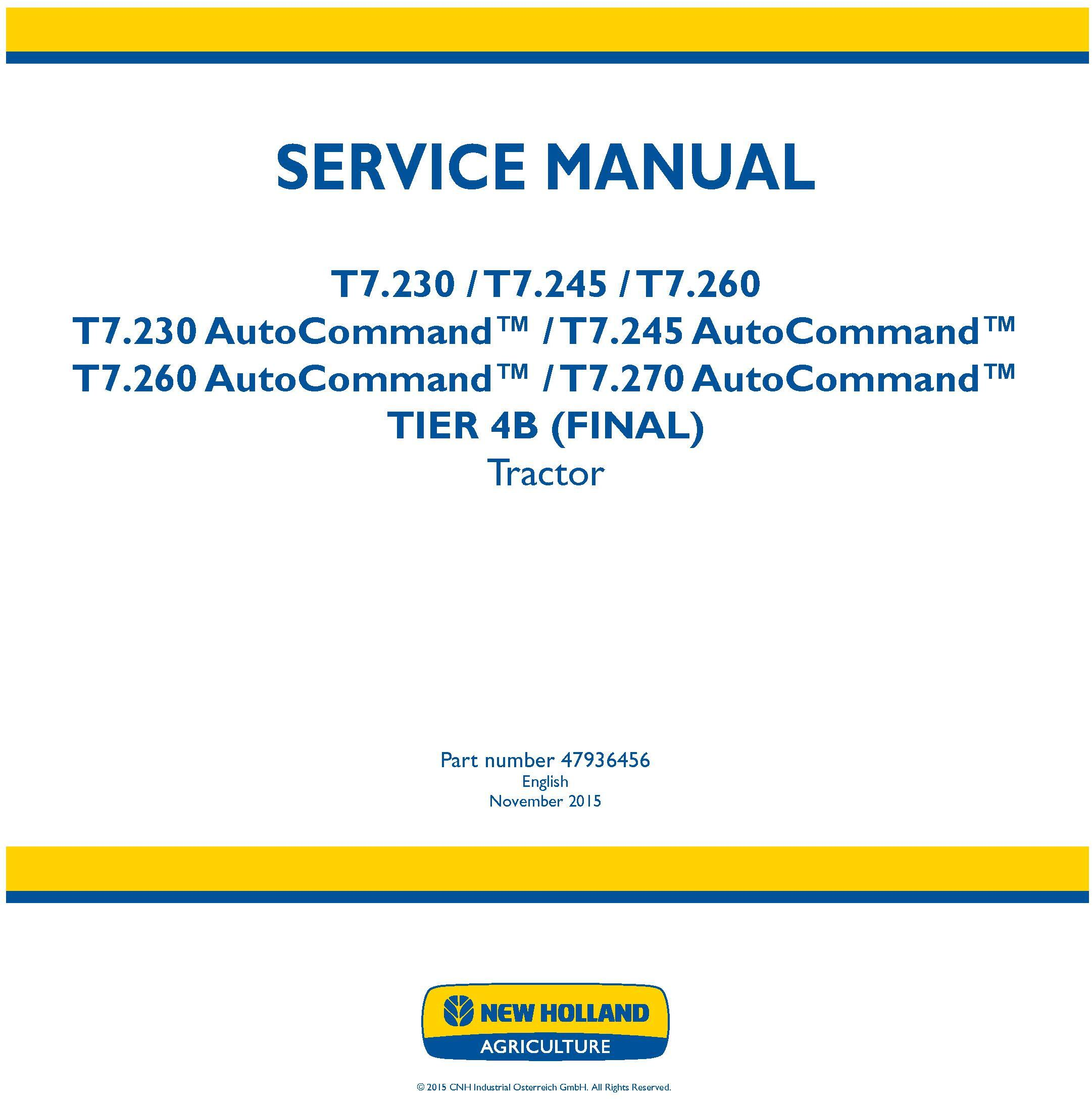 New Holland T7.230, T7.245, T7.260, T7.270 and AutoCommand Tier 4B final Tractor Service Manual - 19465