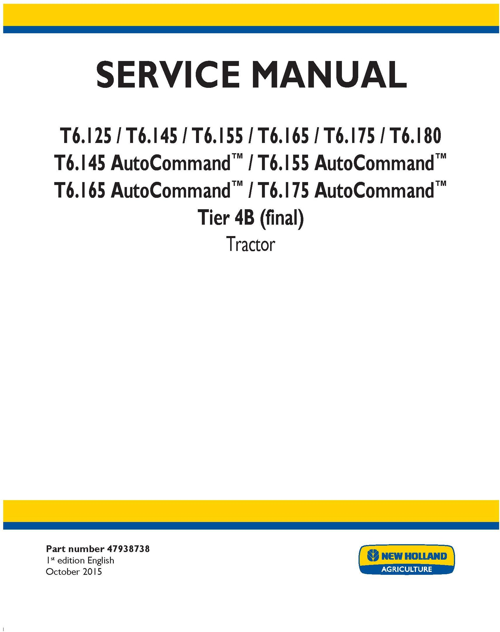 New Holland T6.125, T6.145, T6.155, T6.165, T6.175, T6.180 Auto Command Tractor Service Manual (USA) - 19469
