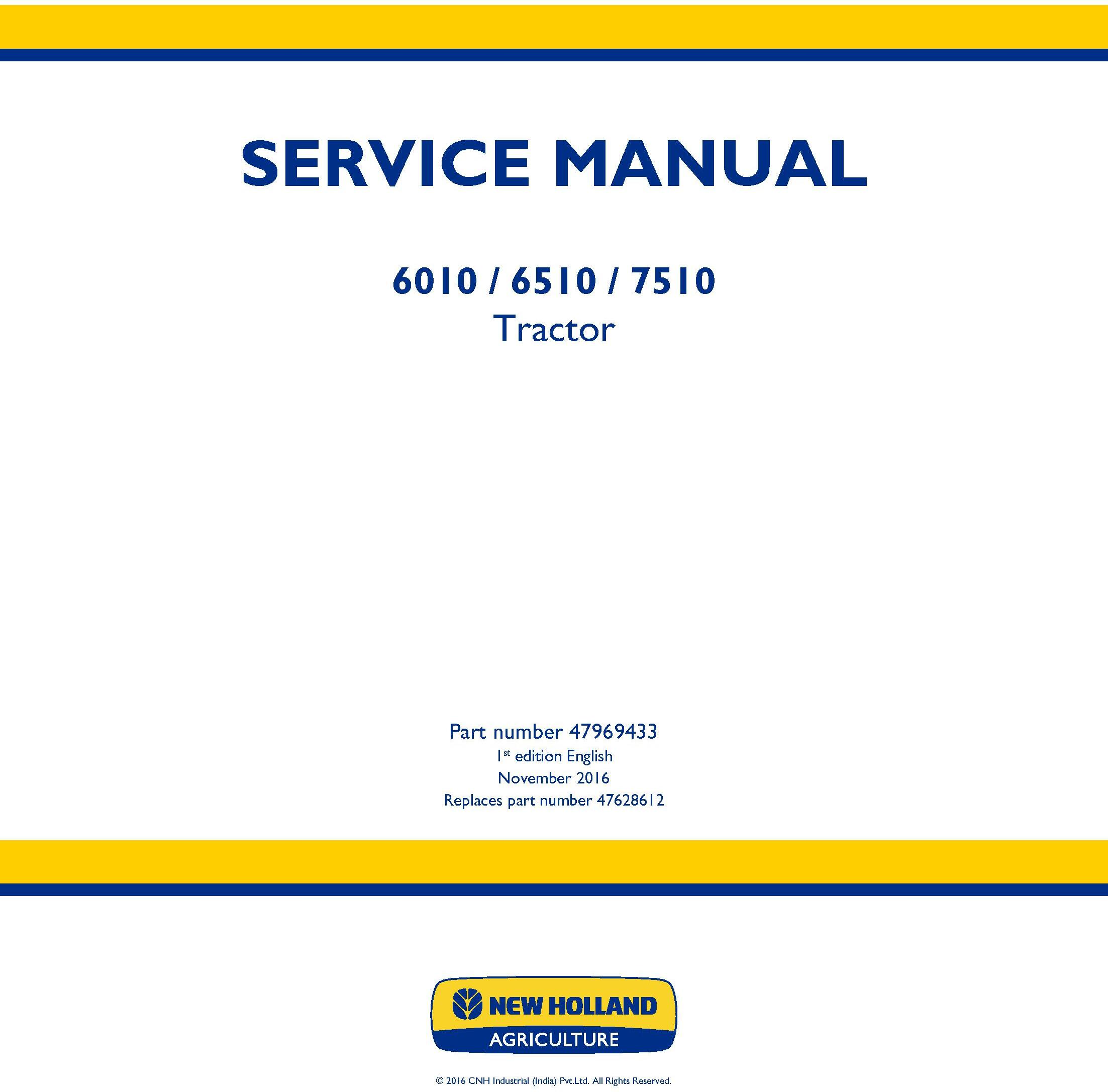New Holland 6010, 6510, 7510 Tractor Service Manual - 19472