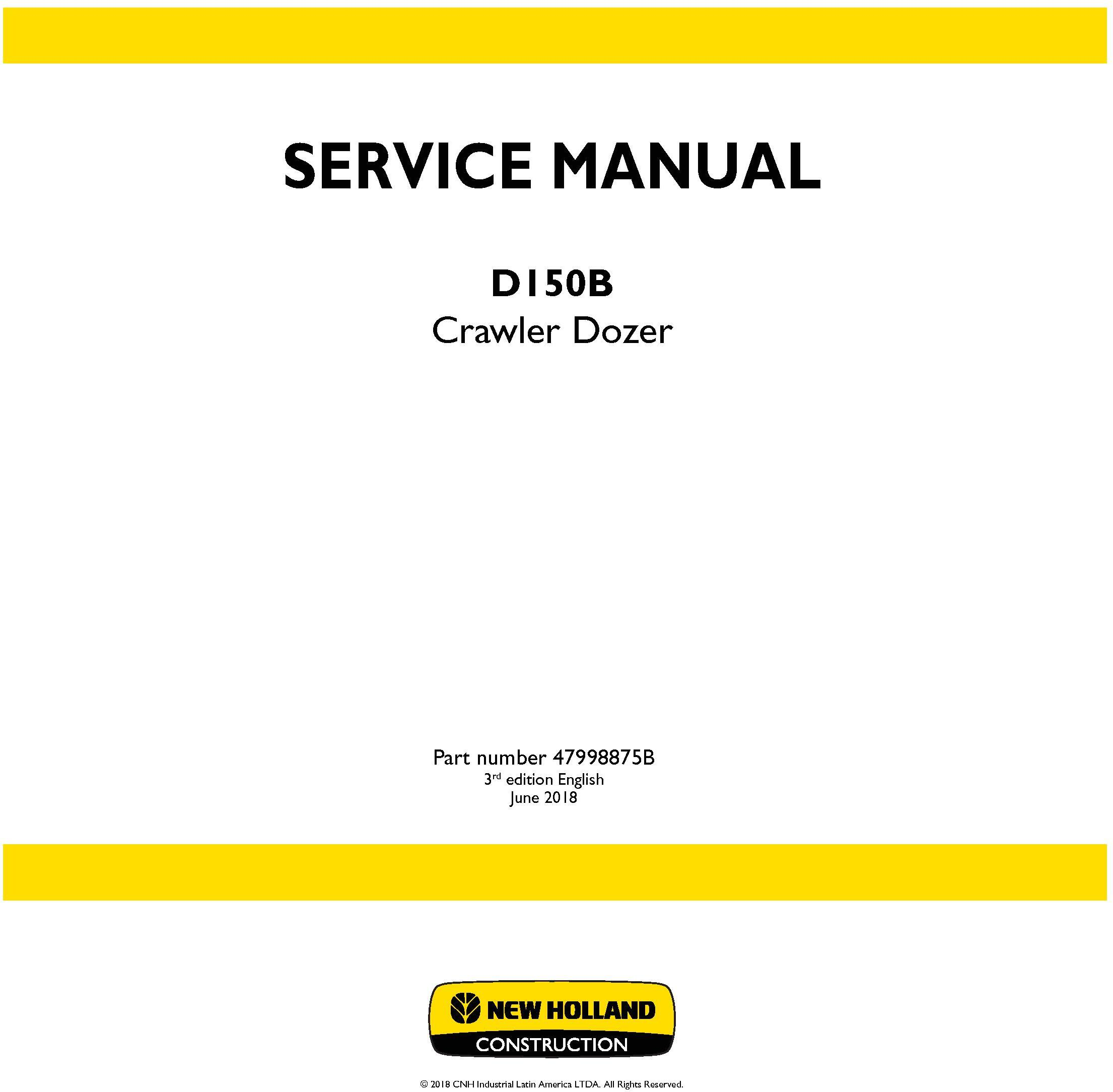New Holland D150B XLT Crawler Dozer Service Manual (Brasil) - 19645