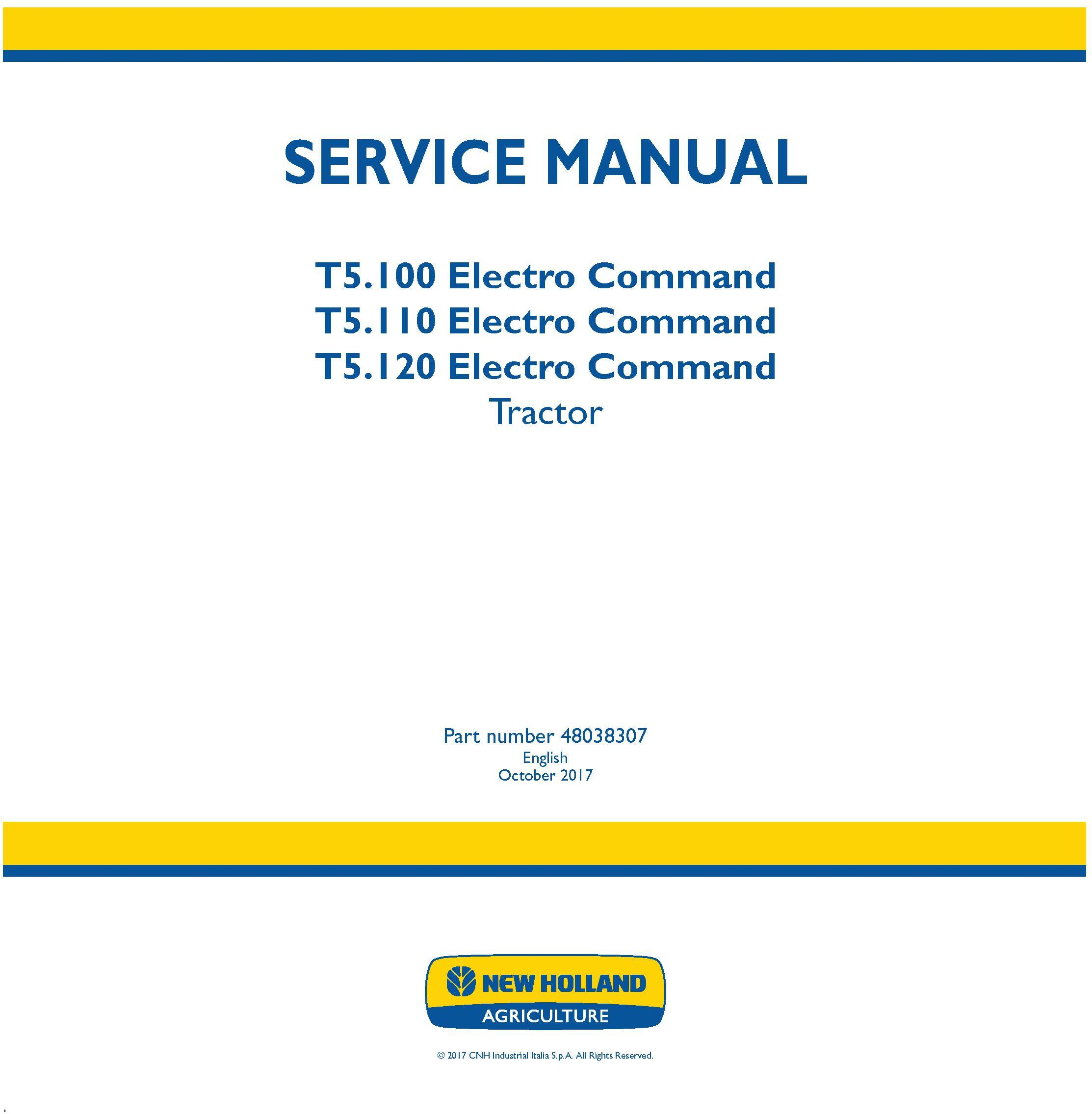 New Holland T5.100, T5.110, T5.120 Electro Command Stage IV Tractor Service Manual - 19486