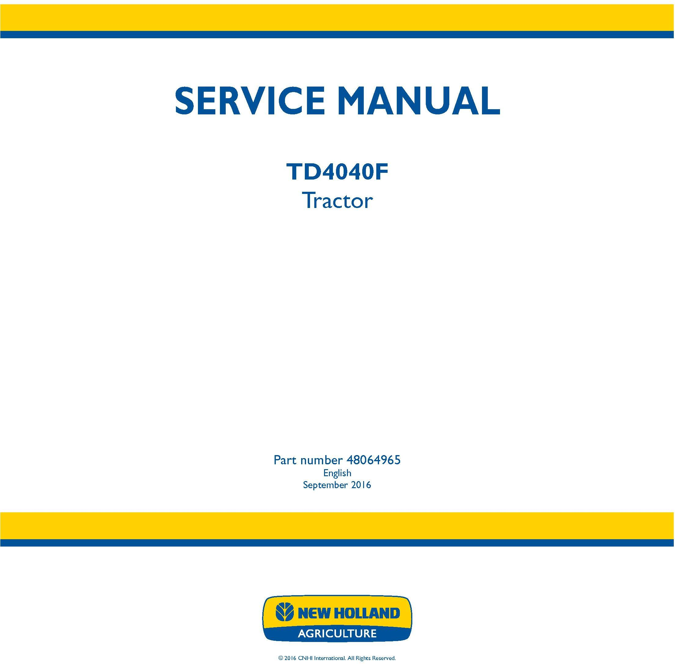 New Holland TD4040F Tractor Service Manual (North America) - 19490