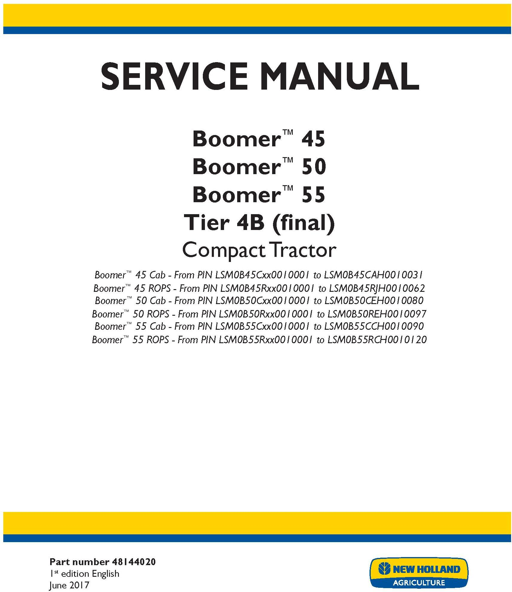 New Holland Boomer 45, Boomer 50, Boomer 55 Tier 4B final Compact Tractor Service Manual (USA) - 19498