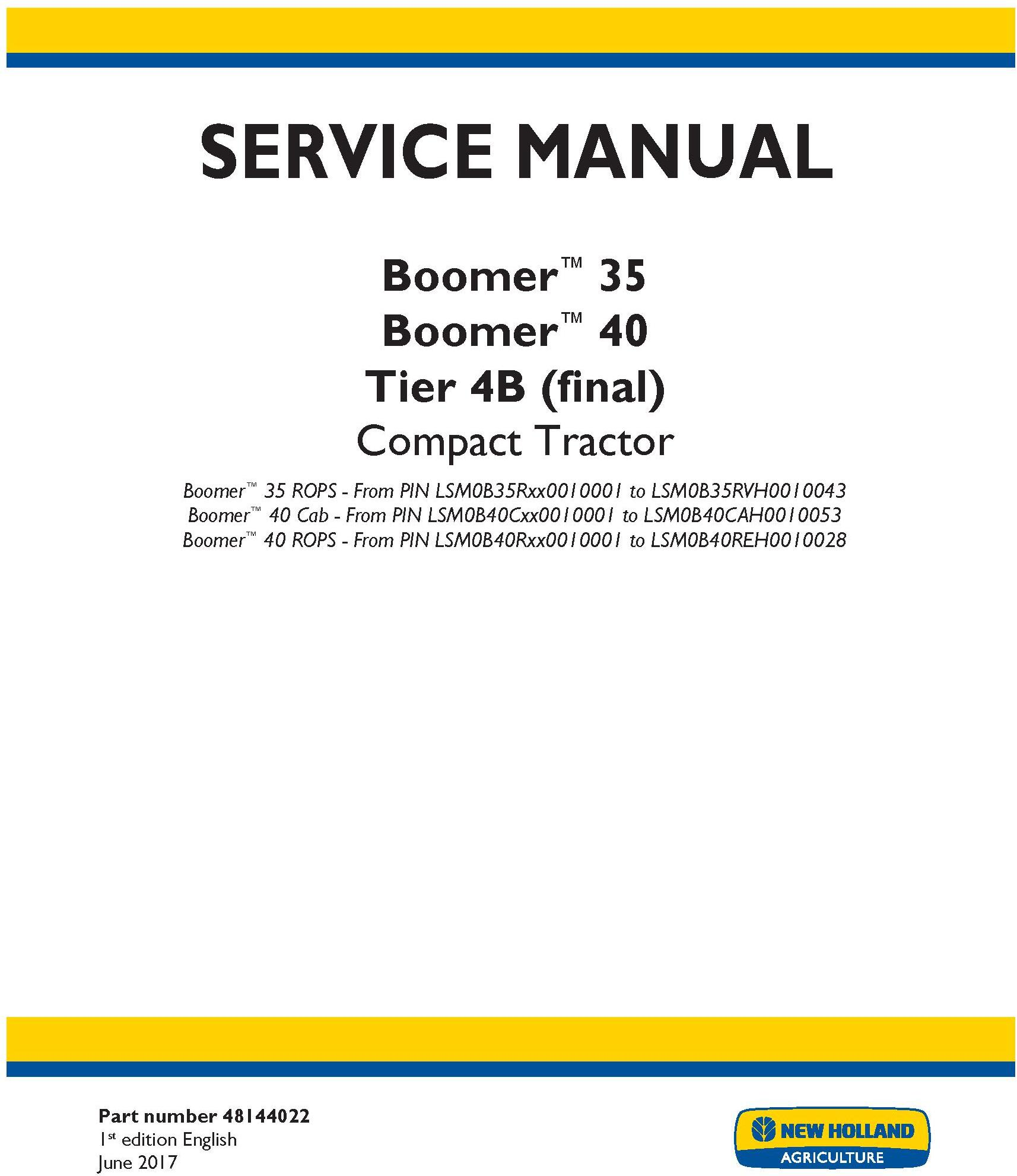 New Holland Boomer 35, Boomer 40 Tier 4B (final) Compact Tractor Service Manual (North America) - 19499