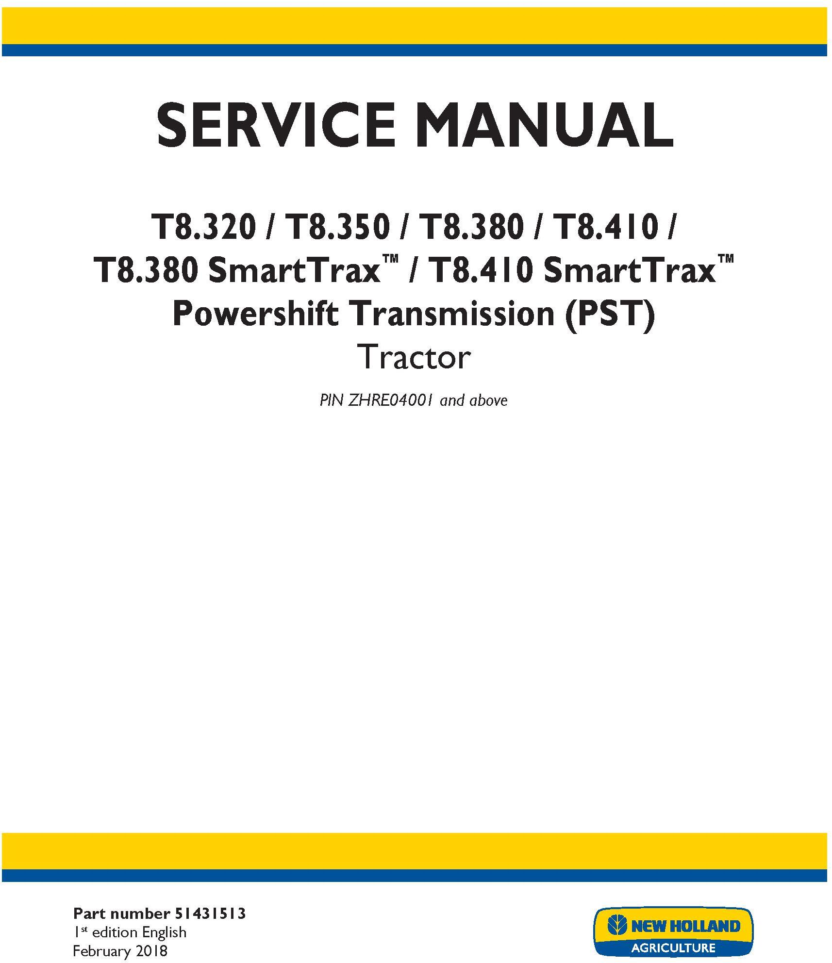 New Holland T8.320, T8.350, T8.380, T8.410 and SmartTrax PST Tractor Tier 4B Service Manual (USA) - 19513