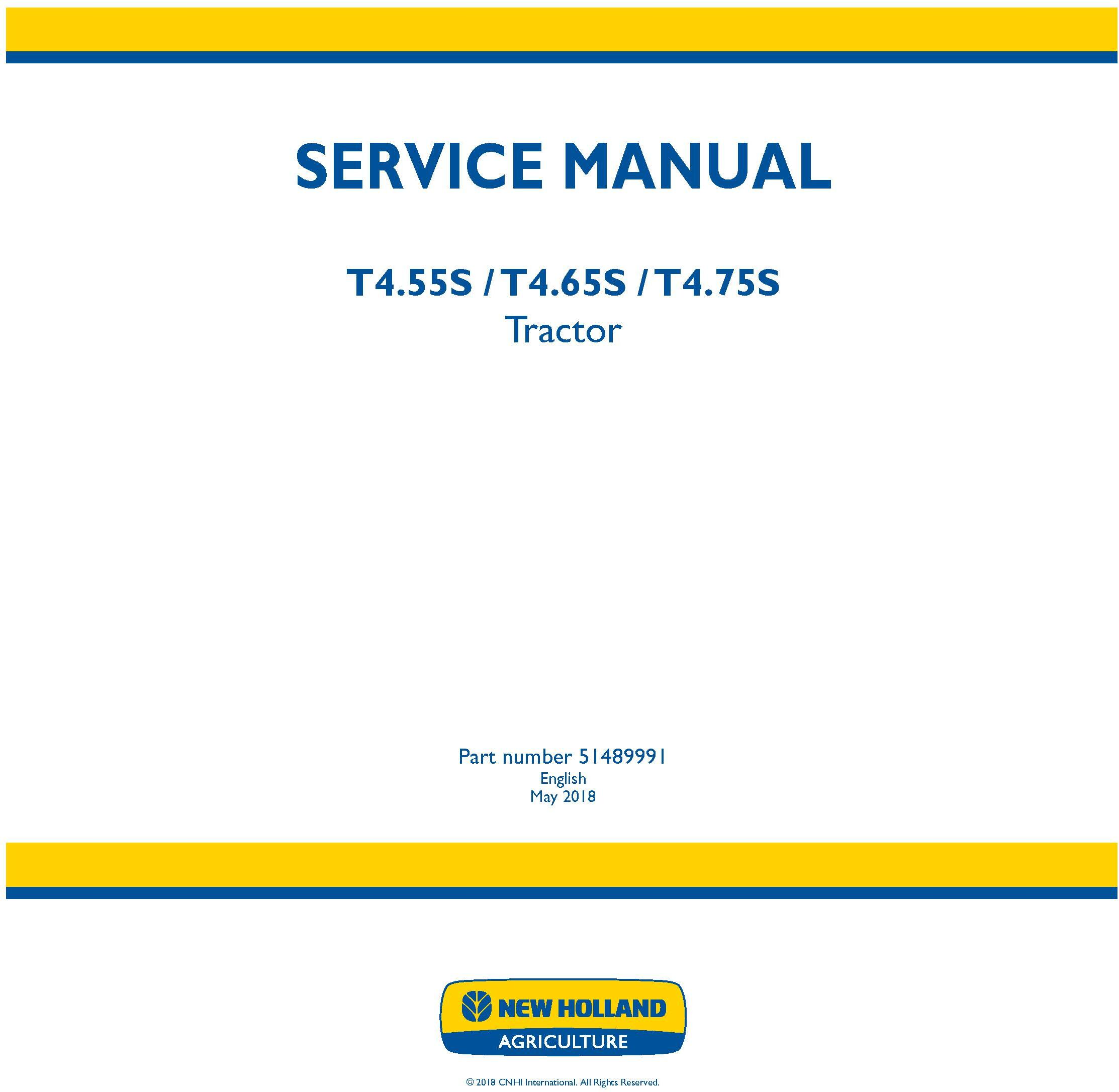 New Holland T4.55S, T4.65S, T4.75S Tractor Service Manual (Australia, New Zeland) - 19516