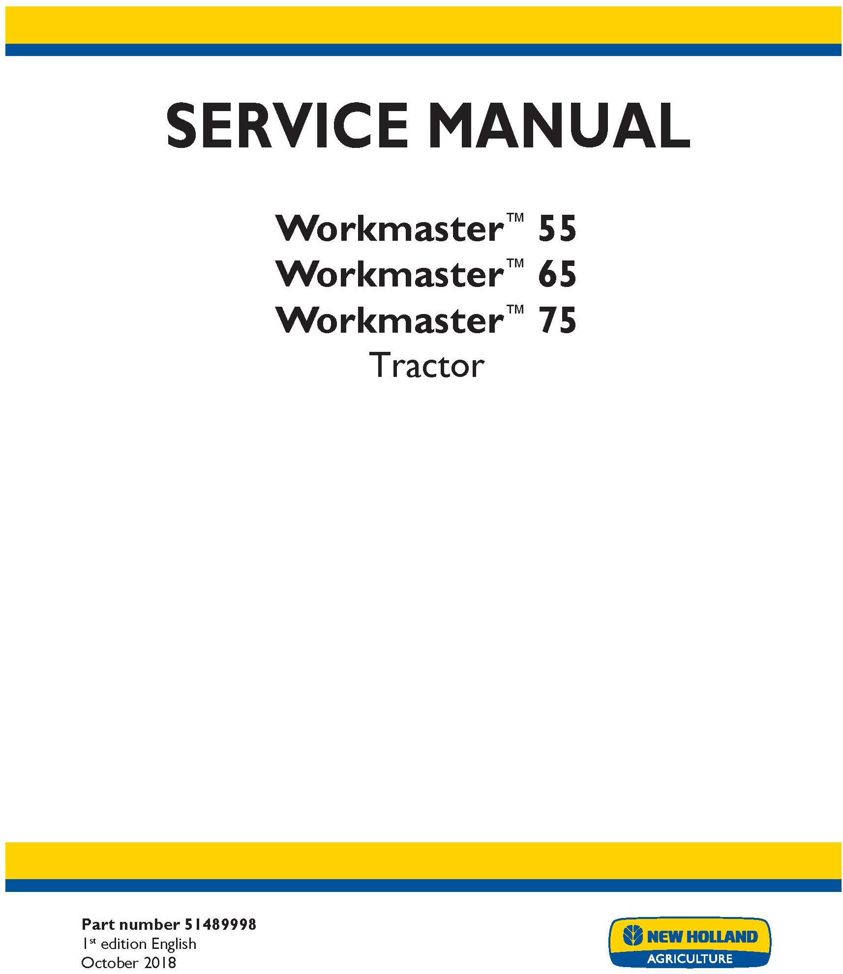 New Holland Workmaster 55, Workmaster 65, Workmaster 75 Tractor Service Manual - 19517