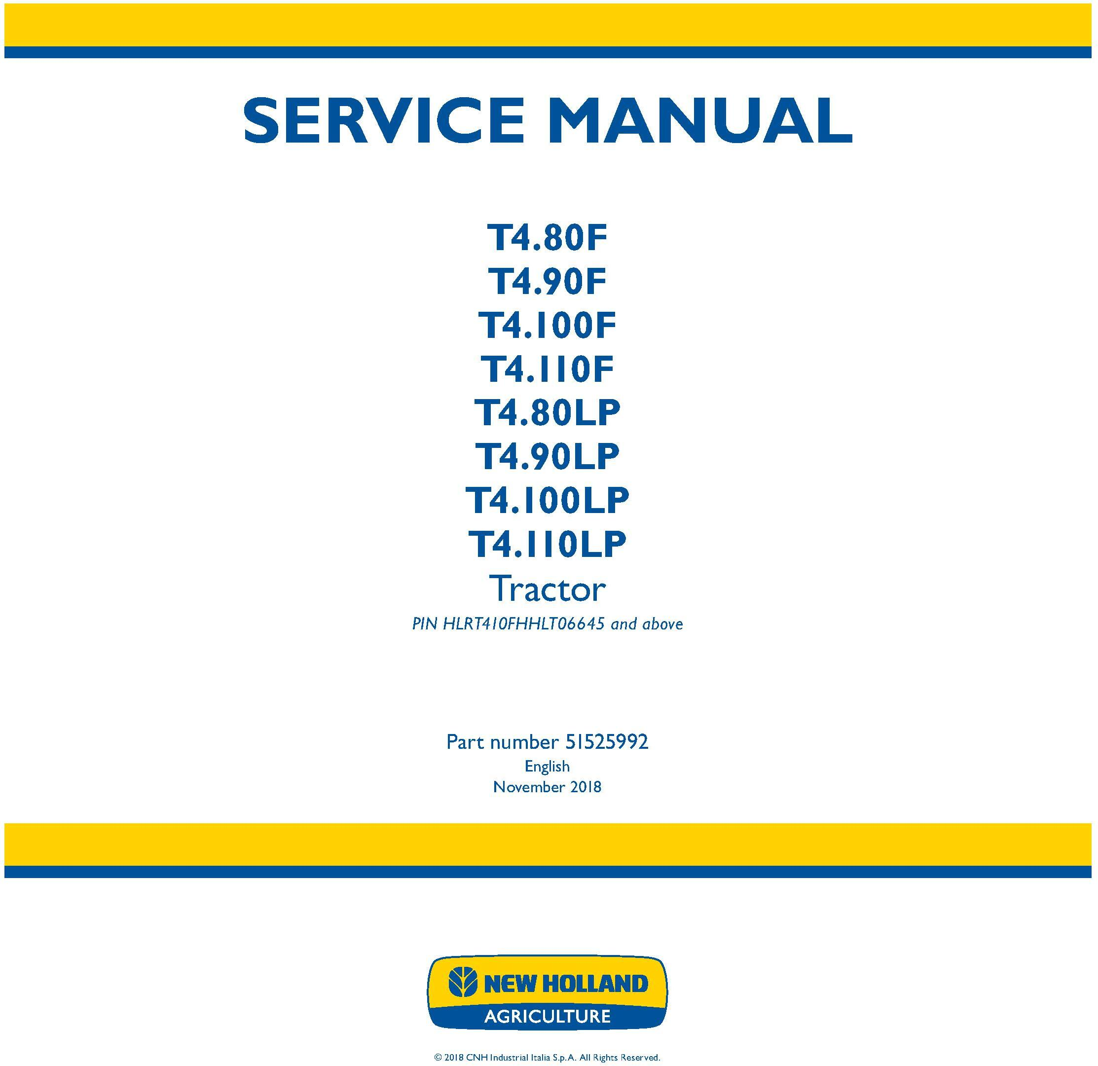 New Holland T4.80F/LP, T4.90F/LP, T4.100F/LP, T4.110F/LP Tractor Tier4A & Stage IIIB Service Manual - 19524