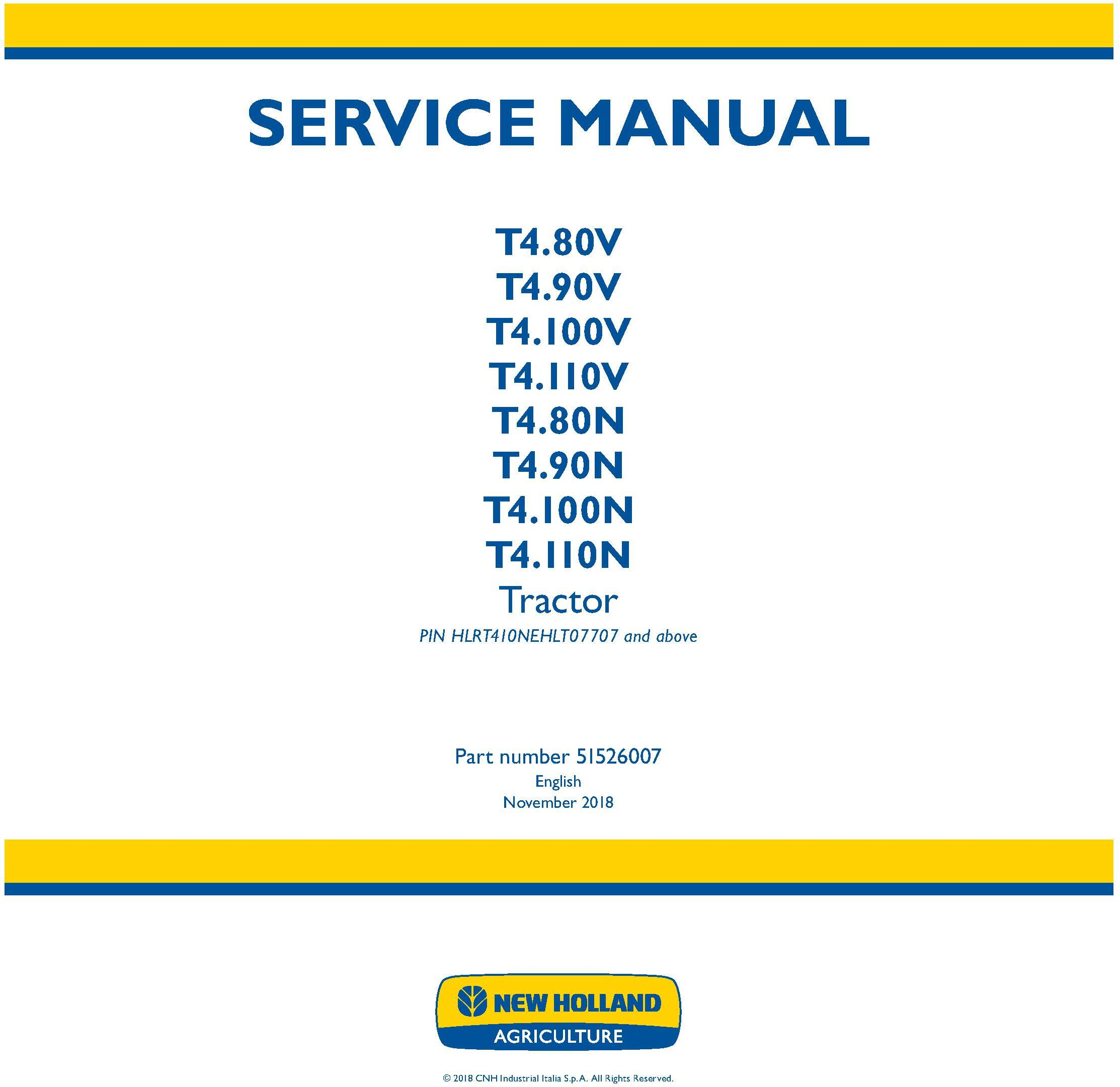 New Holland T4.80V/N, T4.90V/N, T4.100V/N, T4.110V/N Tractor Tier 4A and StageIIIB Service Manual - 19526