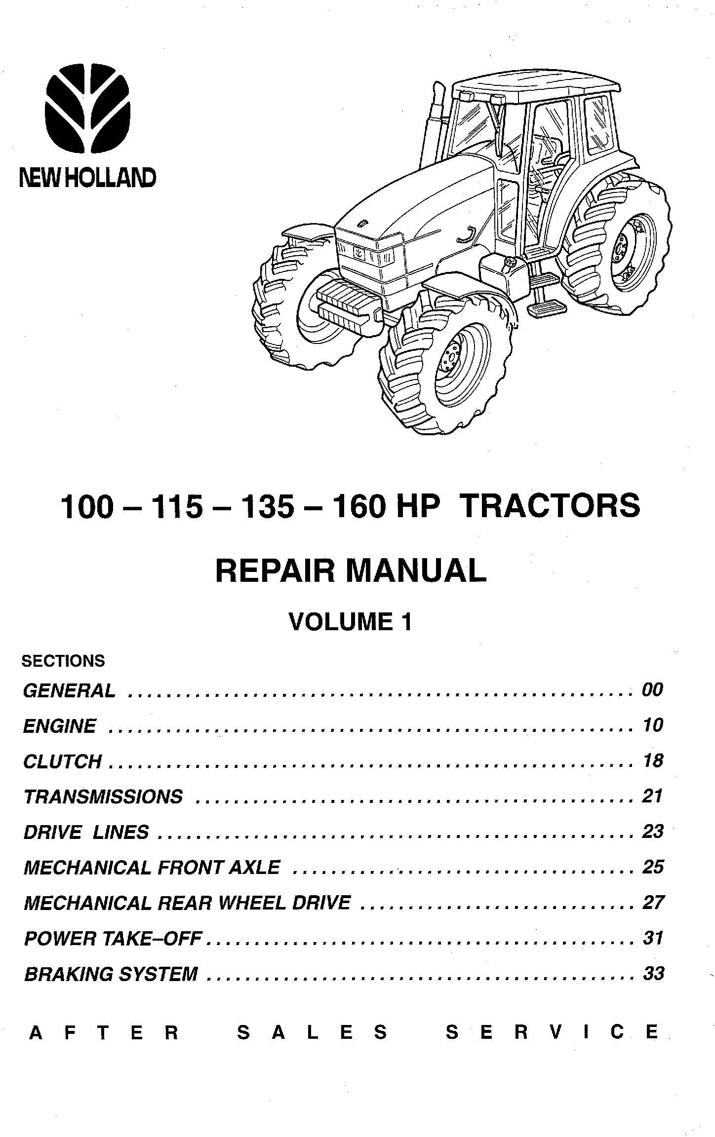 New Holland 100 HP, 115 HP, 135 HP, 160 HP tractors Service Manual - 19534