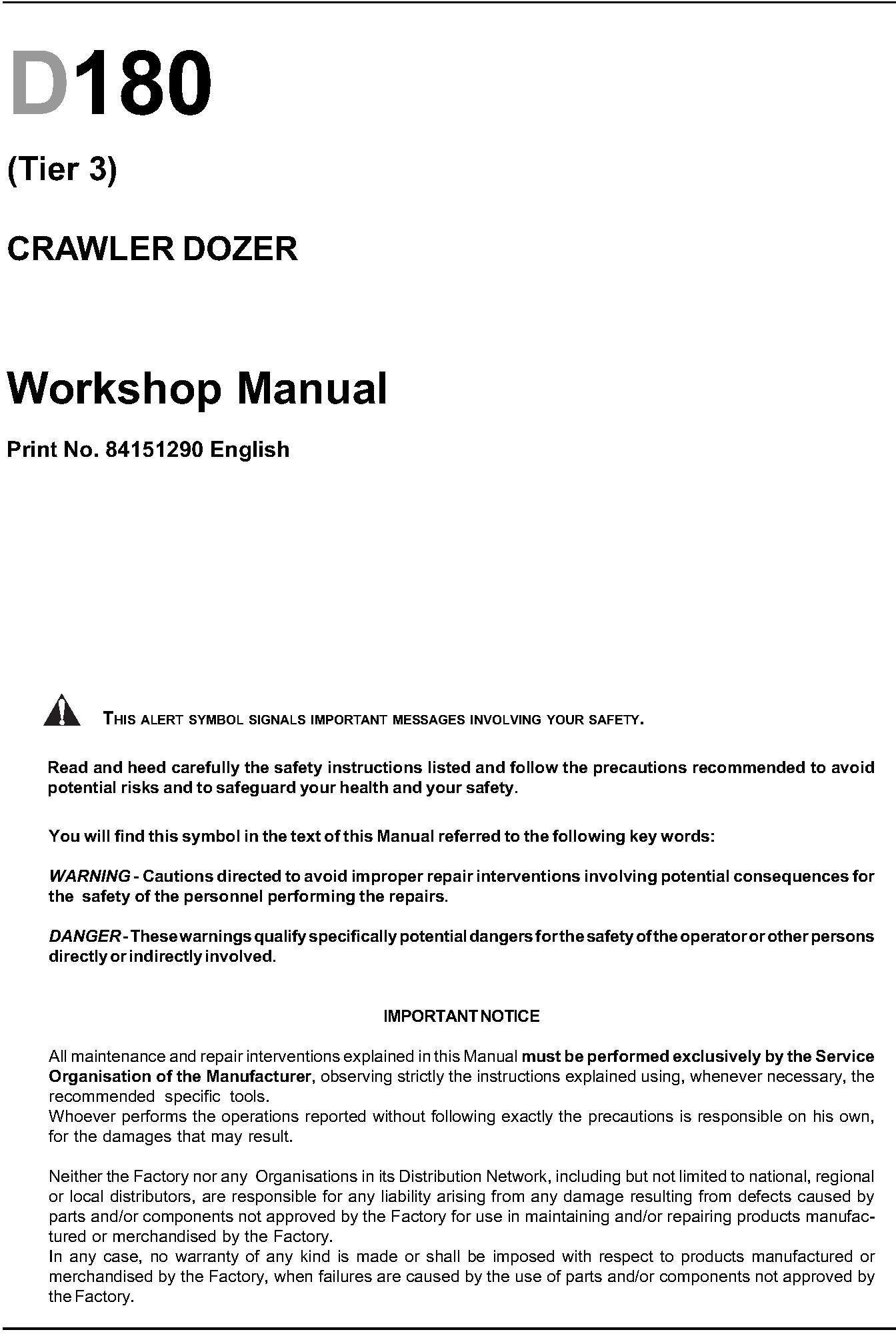 New Holland D180 Crawler Dozer Tier 3 Workshop Service Manual - 19981
