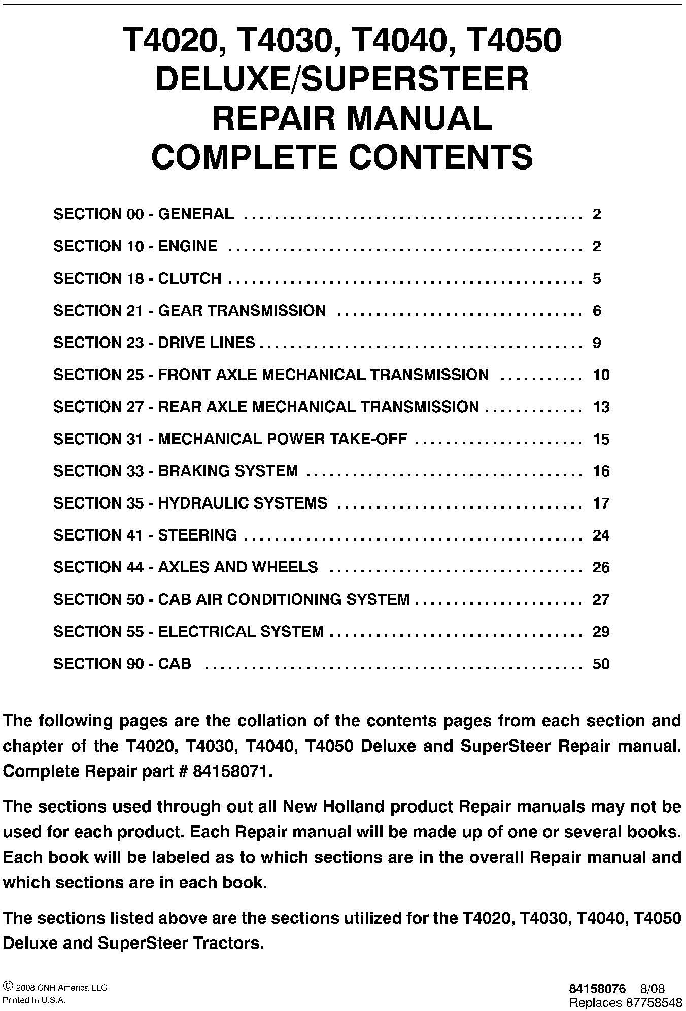 New Holland T4020, T4030, T4040, T4050 Deluxe/SuperSteer Service Manual - 19551