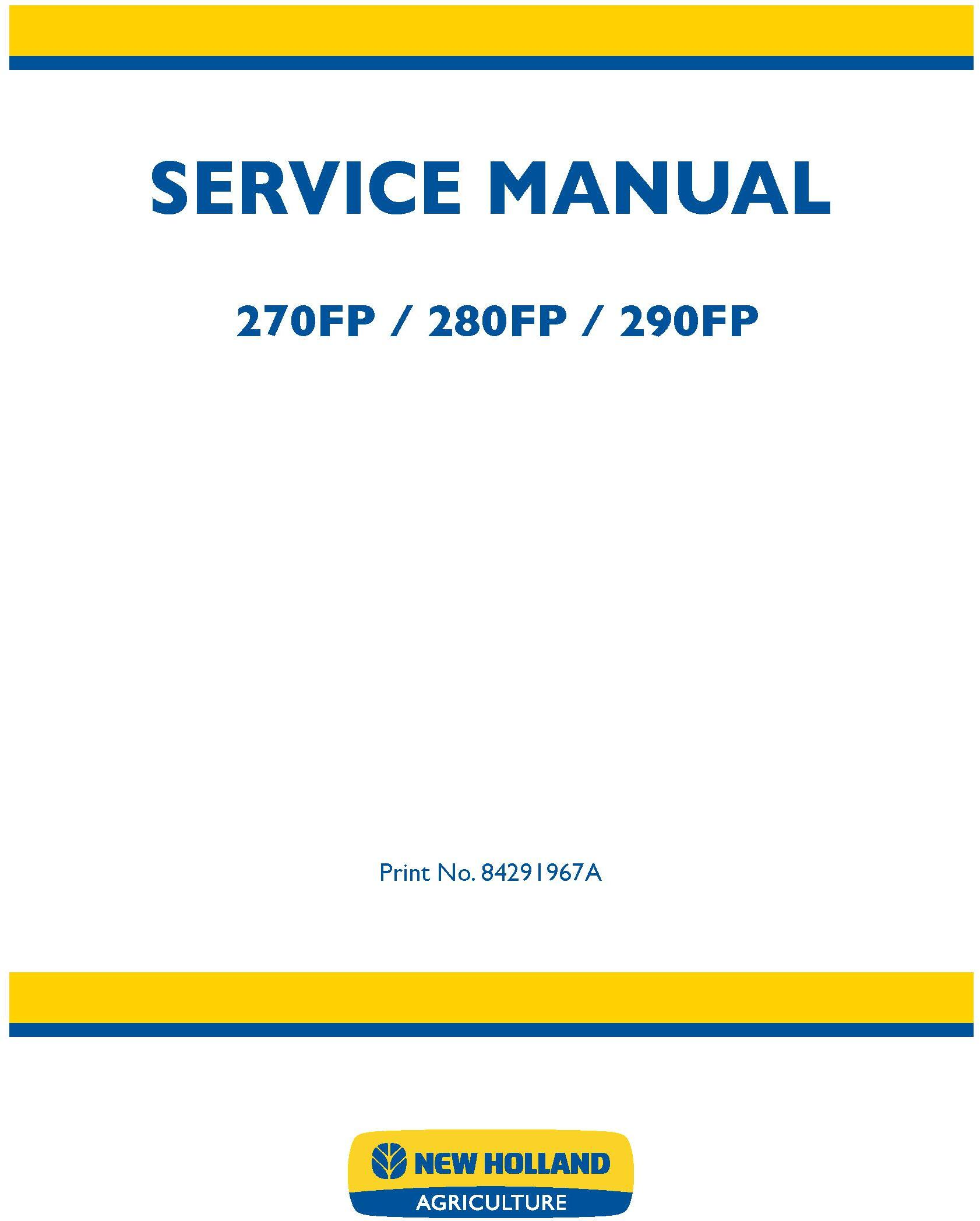 New Holland 270FP, 280FP, 290FP Forage Equipment Headers Service Manual - 20054