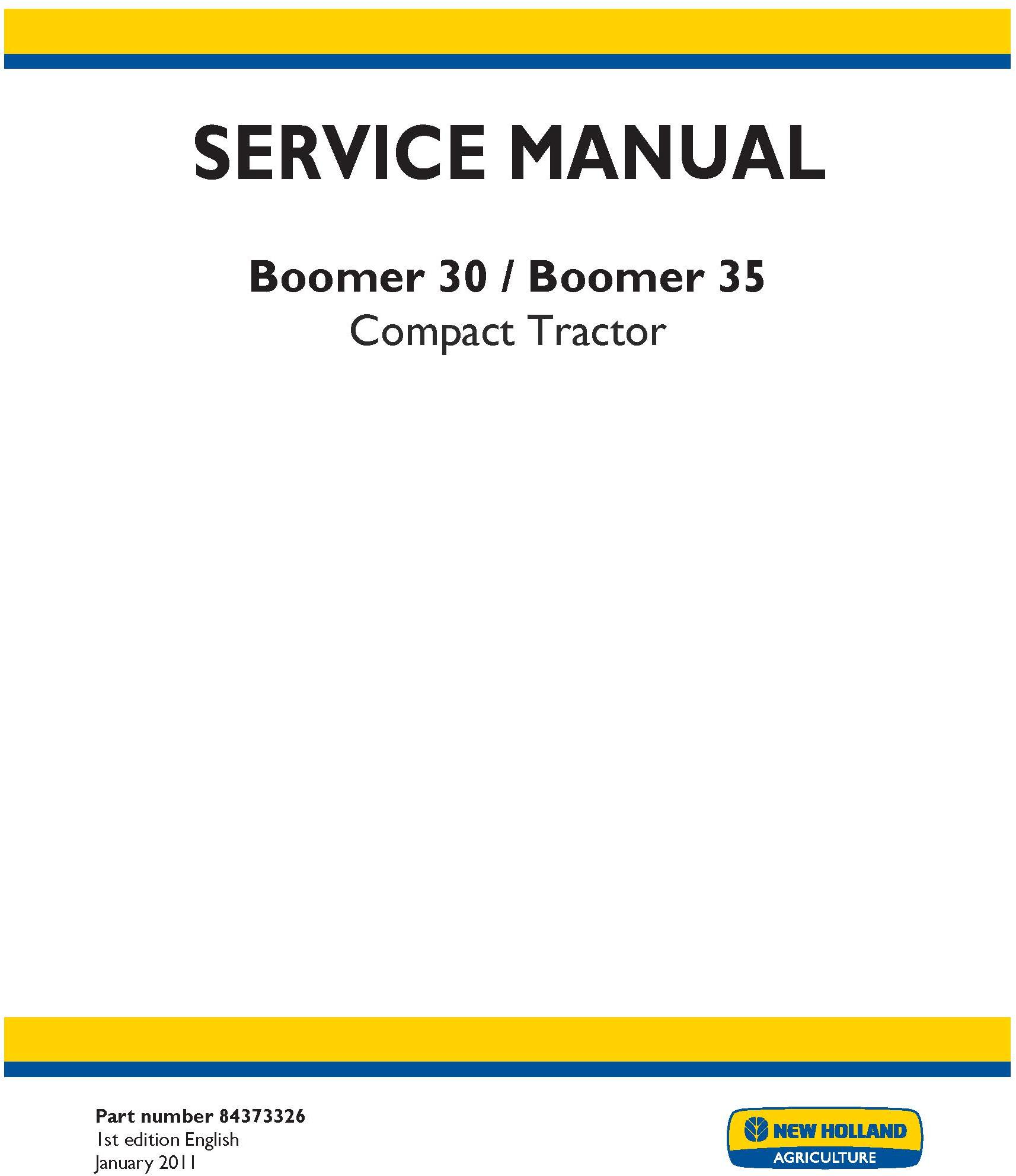 New Holland Boomer 30, Boomer 35 Compact Tractor Service Manual - 19571