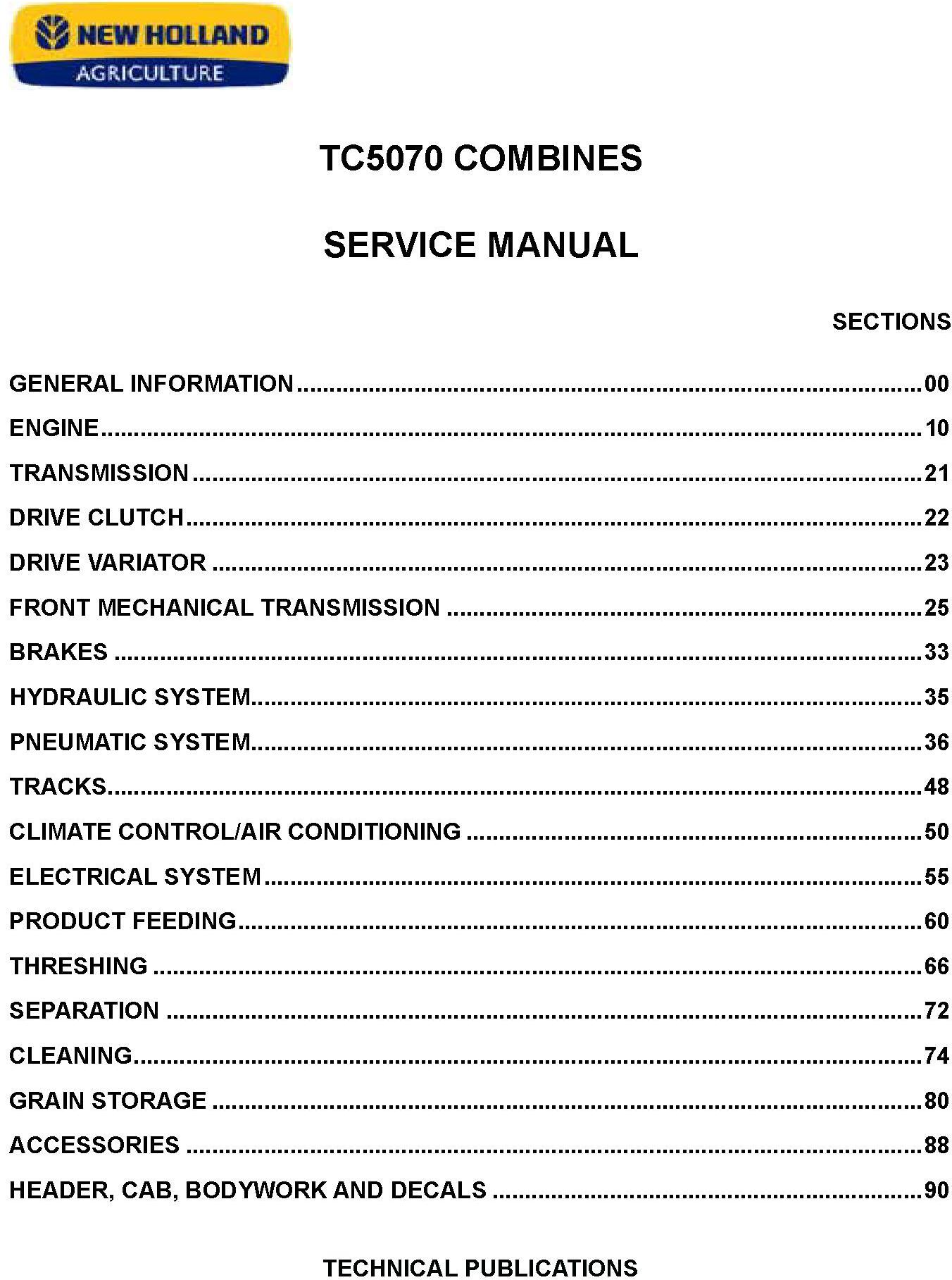 New Holland TC5070 Hydro 4WD Combine Service Manual - 20018