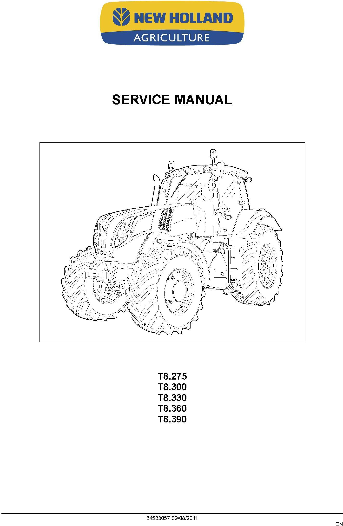 New Holland T8.275, T8.300, T8.330, T8.360, T8.390 Agricultural Tractor Service Manual (08/2011) - 19578