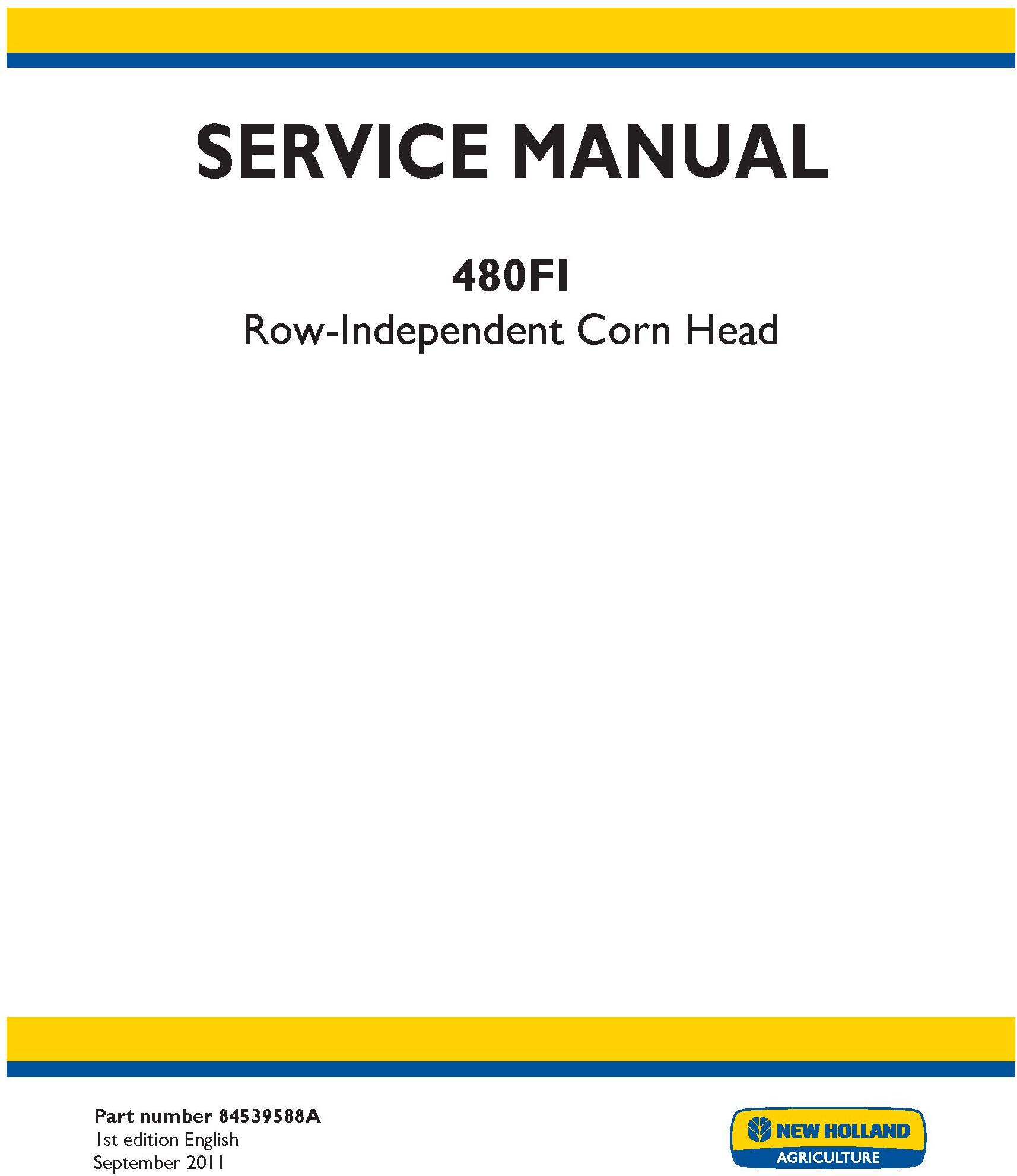 New Holland 480FI Row Independent Corn Head Service Manual - 20059