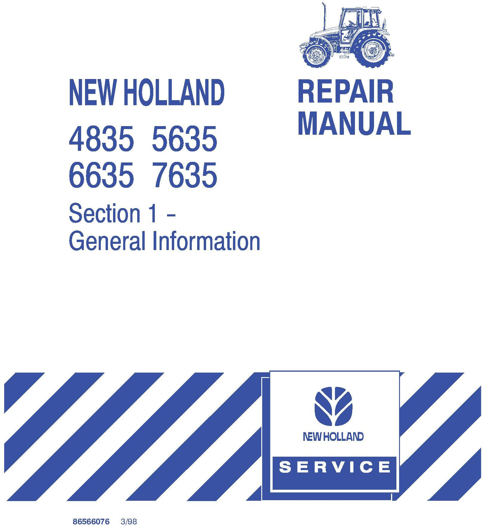 New Holland 4835, 5635, 6635, 7635 Tractor Complete Service Manual - 19584