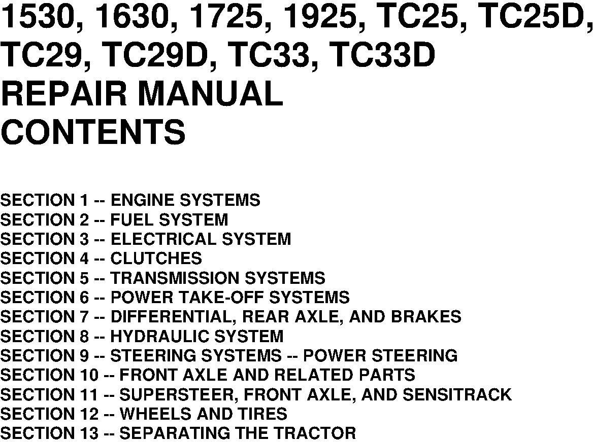 New Holland 1530, 1630, 1725, 1925, TC25, TC25D, TC29, TC29D, TC33, TC33D Tractors Service Manual - 19588