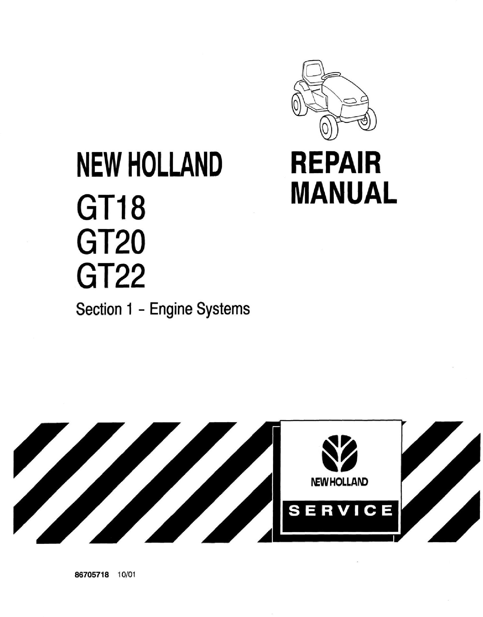 New Holland GT18, GT20, GT22 Garden Tractor COMPLETE Service Manual - 19591