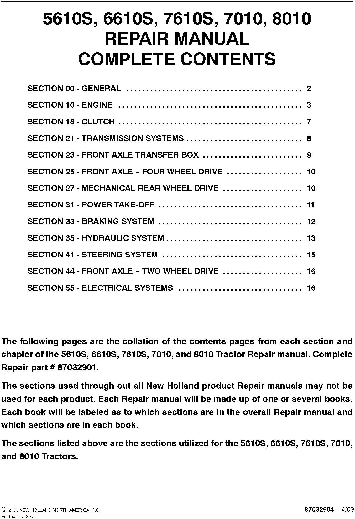 New Holland 5610S, 6610S, 7610S, 7810S, 7010, 8010 Complete Service Manual - 19598